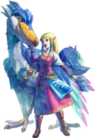 Zelda mit ihrem Wolkenvogel in Skyward Sword
